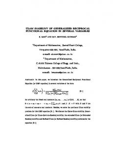ULAM STABILITY OF GENERALIZED RECIPROCAL ...
