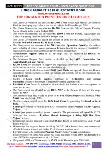 Union Budget 2018-2019 MCQ Based Oneliner Match Points.pdf ...