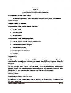 UNIT 4 PLANNING AND MACHINE LEARNING 4.1 ...