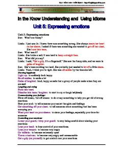 Unit 5: Expressing emotions