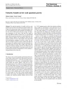 Unitarity bounds on low scale quantum gravity - Springer Link