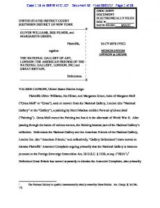 UNITED STATES DISTRICT COURT SOUTHERN ... - lootedart.com