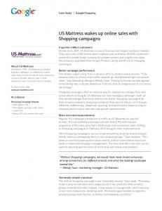 US-Mattress wakes up online sales with Shopping ...  Services