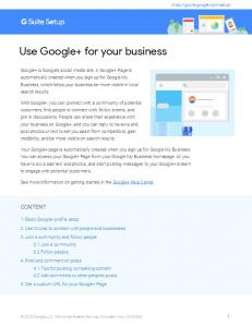 Use Google+ for your business - G Suite