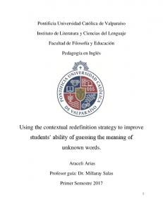 Using the contextual redefinition strategy to improve ... - PUCV Inglés