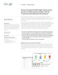 Venus increased clickthrough rate by seven percent ...  Services