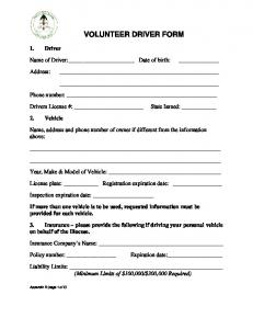 VOLUNTEER DRIVER FORM