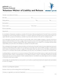 Volunteer Waiver of Liability and Release