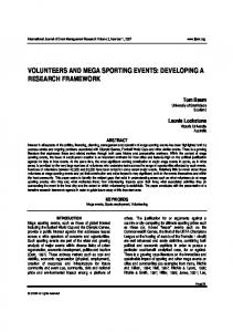 volunteers and mega sporting events: developing a ...