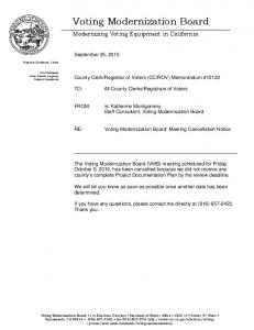 Voting Modernization Board: Meeting Cancellation Notice