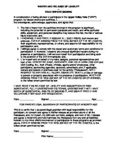 WAIVER AND RELEASE OF LIABILITY -- READ ... -