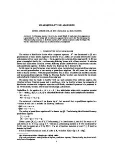 WEAK-QUASI-STONE ALGEBRAS 1. Introduction and ...