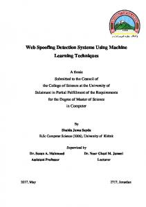 Web Spoofing Detection Systems Using Machine Learning ...