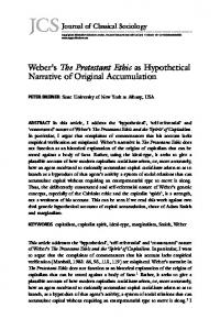 Weber's The Protestant Ethic as Hypothetical ... - SAGE Journals