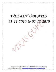 WEEKLY UPDATES 28-11-2010 to 05-12-2010