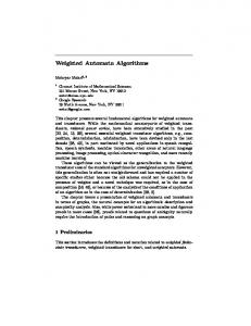 Weighted Automata Algorithms - Semantic Scholar