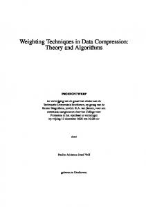 Weighting Techniques in Data Compression - Signal Processing ...