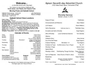 Welcome... Apison Seventh-day Adventist Church