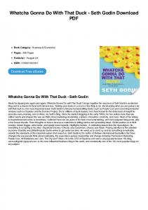 Whatcha Gonna Do With That Duck - Seth Godin PDF