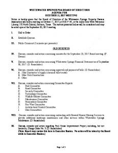 WHITEWATER SPRINGS POA BOARD OF DIRECTORS AGENDA ...