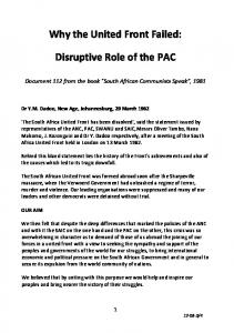 Why the United Front Failed: Disruptive Role of the PAC