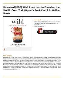 Wild: From Lost to Found on the Pacific Crest Trail ...