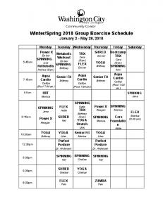Winter/Spring 2018 Group Exercise Schedule
