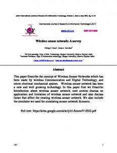 Wireless sensor network: A survey