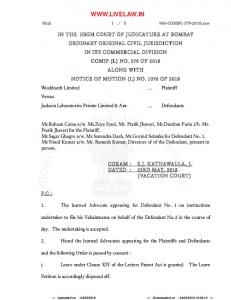 Wockhardt Limited v. Jackson Laboratories Private Limited & Anr.pdf ...