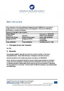 Work instructions for preparation of an orphan maintenance ...