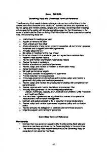 Xxxxx SCHOOL Governing Body and Committee Terms of Reference ...