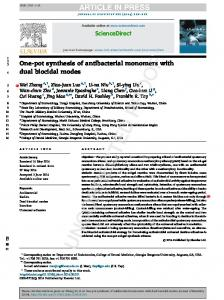 zhangwei JD One-pot Synthesis of Antibacterial Monomers with ...